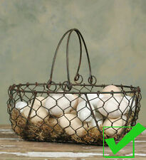 Metal WIRE BASKET EGG GATHERING BASKET Farmhouse Primitive Country with Handles