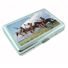Indian Native American Metal Silver Cigarette Case D2 Tribes Tent Wid West