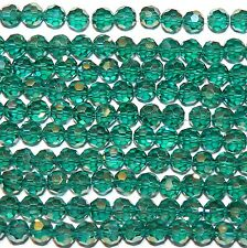 """CRB542L2 Dark Teal Blue-Green 6mm Faceted Round Crystal Beads 22"""""""