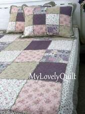Purple Plum Country Roses Ruffled Patchwork BEDSPREAD Quilt 3pc Set QUEEN