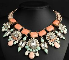 pentand Crystal Mix Statement charm chunky colorful collar Chain Necklace 707