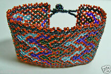 Small Glass Beads Hand Crafted Wide Red & Blue Pattern bracelet w two buttons