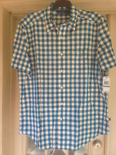 NWT Nautica Mens Star Turquoise Check Shirt Short Sleeve Size L