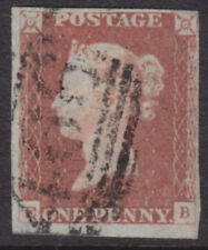 """1841 1d RED BROWN PLATE 74 LETTERS """" E - B """" USED WITH GOOD TO CLOSE MARGINS"""