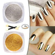 Nail Mirror Art Powder Magic Silver Gold Effect Dust Glitter Pigment Polish 2g