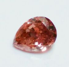 Pink Diamond -0.48ct Natural Loose Fancy Deep Orangy Pink Red Color GIA Pear SI2