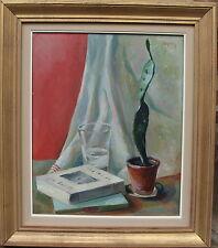 Magnus, Stillleben mit Kaktus, Bücher und Glas, datiert 1931
