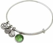 Silver Tone Celtic August Birthstone Charm Bangle Bracelet -CRAFTED IN IRELAND