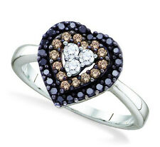 Wow! 100% 14K White Gold Chocolate Brown, Black & White Diamond Heart Ring .50ct