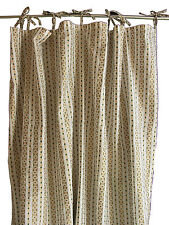 Anokhi curtain with top ties - white with gold & emerald stripe - 100% cotton