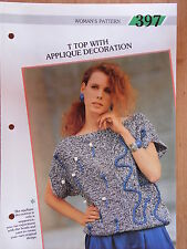 """Creative Knitting Woman's Pattern No.397 T Top with Applique Decoration 34-38"""""""