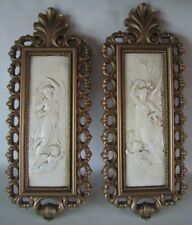 Pair 1971 DART Inc. Classical Angel & Cherub Wall Plaques 7410A & B Homco