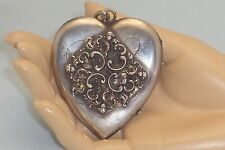 Large Victorian Sterling Silver Heart Shaped Photo Picture Locket Period Photos