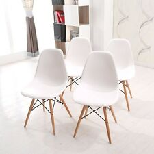 4X Eames White DSW Dining Chairs Wooden Legs Diningroom Office Lounge Chairs
