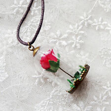 Beauty and the beast glass rose handmade Valentine belle boxed necklace romantic