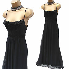 MONSOON Black Silk Satin Cocktail Evening Grecian Ballgown Maxi Long DRESS 10 UK