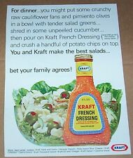 1966 print ad page -Kraft French Dressing- potato chip olive salad recipe idea