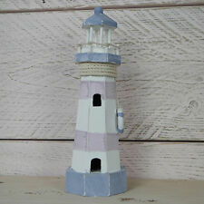 Shabby Rustic Chic Blue White Nautical Wooden Lighthouse with Windows Life Ring