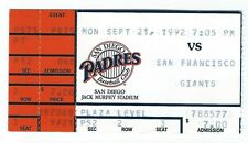 Ted Wood, Craig Colbert home runs ticket stub; Giants at Padres 9/21/1992