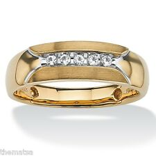 14K GOLD STERLING SILVER ROUND WHITE SAPPHIRE MENS RING SIZE 8 9 10 11 12 13