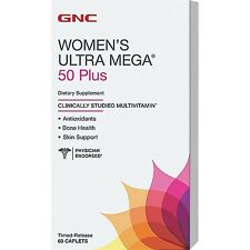 (New) GNC Women's Ultra Mega 50 Plus Multivitamin 60 Caplets - free shipping