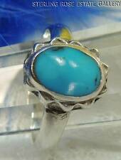 BLUE TURQUOISE Sterling Silver 0.925 Estate SOLITAIRE Cocktail RING size 7.25