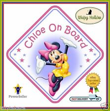MINNIE MOUSE PERSONALISED CAR WINDOW SIGN - BABY ON BOARD CHILD KIDS SAFETY b