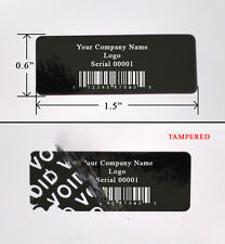 "1,000 SECURITY LABEL SEALS STICKER BLACK CUSTOM PRINT TAMPER EVIDENT 1.5"" X 0.6"""