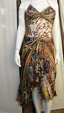 zuhair murad couture chiffon animal print beaded halter party dress sz s