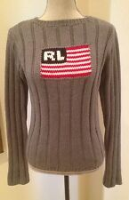 Vtg RALPH LAUREN POLO Gray Ribbed Cotton Red White Blue Patriotic Flag Sweater M
