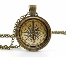 Vintage compass Old Fashioned Antique Style Glass Photo Necklaces & Pendants*