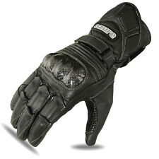 Motorbike Racing Gloves Motorcycle Rider Goat Leather Glove Black, Large