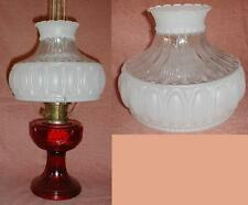 "10"" CLEAR & ETCHED GLASS SHADE fits aladdin/student/banquet oil kerosene lamp"