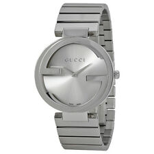 Gucci Interlocking Silver Dial Stainless Steel Ladies Watch YA133308