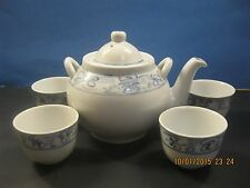 Vintage Estate Chinese Tea pot with 4 cups - Blue and White