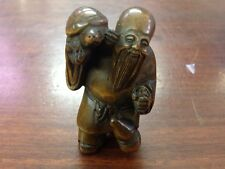 "1940's Japanese handmade Boxwood Netsuke ""oldman and turtle"" Figurine Carving"