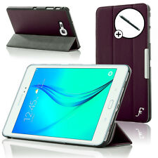 Leather Purple Folding Smart Case Cover for Samsung Galaxy Tab A 8.0 + Stylus