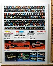 1983 Aurora AFX HO Slot Car Art Work Mans Room FIRE ENGINE Framed Advertising A+