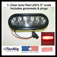 """(1) Trailer Truck LED Sealed CLEAR/ RED 6"""" Oval Stop/Turn/Tail Light Made in USA"""