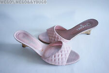 CHANEL Pink CC Logo on Back Cork Heels Clogs Sandals Slippers Size 42 US 11