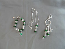 European green & crystal murano bead bracelet, key chain & necklace w/ shamrocks
