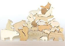BUILDING WOODEN BLOCKS FOREST ANIMALS NO PAINT/NO VARNISH SAFE TO PLAY, HANDMADE