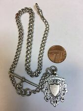 Antique Sterling Silver POCKET WATCH CHAIN & FOB