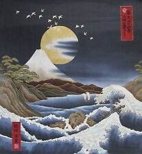 Japanese Cotton Fabric Kona Bay Panel Birds Mt Fuji Gold Moon and Waves Charcoal