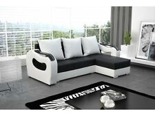 New ORION Corner Sofa Bed Best Quality Free Delivery BLACK AND WHITE Eco leather