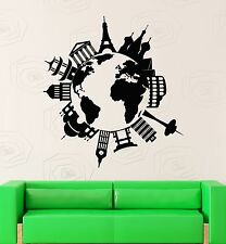 Wall Stickers Vinyl Decal Map Of The Famous Places Travel Coolest Decor  z1577