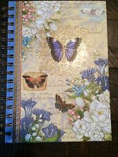 PUNCH STUDIO LINED JOURNAL DIARY BLUE  BUTTERFLY FLORAL HARD COVER 8.5x6