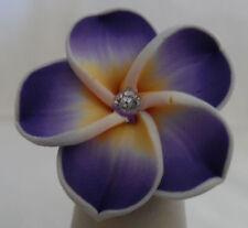 Beautiful Hawaii Purple Fimo Plumeria Flower Hawaiian Adjustable Band Ring