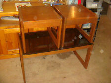Vintage RETRO Glass top TEAK Coffee TABLE Danish TWO Side Tables