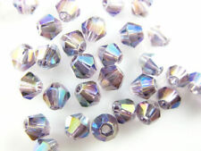 50pcs Loose Violet AB Glass Crystal Faceted Bicone Beads 6mm Spacer Findings